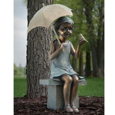 little girl sitting on bench statue garden and patio decor beattitudes religious gifts