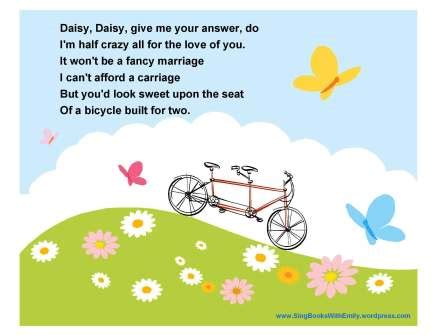 daisy bell a bicycle built for two harry dacre lyrics daisy bell give me your answer do a song with pictures