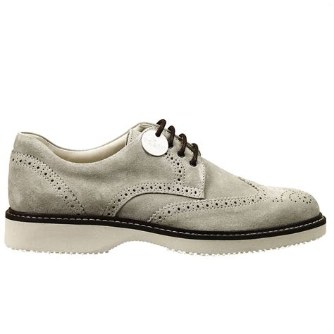 lace up route suede wingtip derby shoes in white for