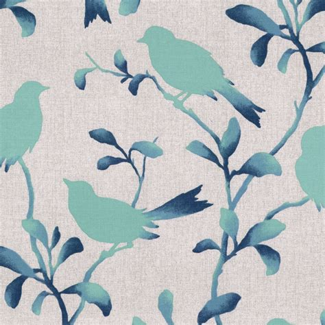printable cotton fabric silhouette silhoetted aqua blue bird fabric birds of a feather pool