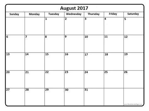 Calendar 2017 August August 2017 Calendar Weekly Calendar Template