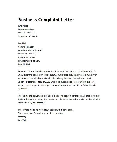 complaint letters samples ms word pages