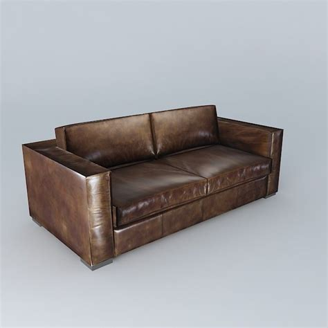 Berlin Aged Brown Leather Sofa 3d Model Max Obj 3ds