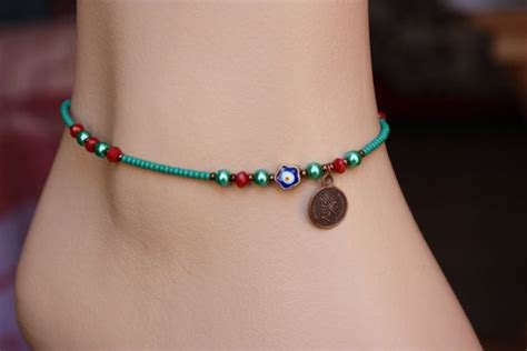 Steunk Vire Bracelet Turquoise Gelang emerald lilac lilac blue and turquoise seed by monroejewelry anklets perlen