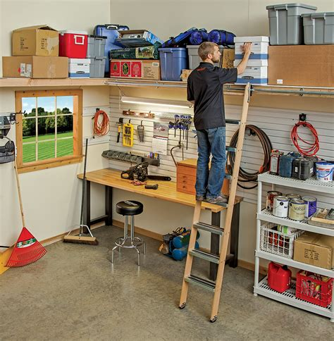 Garage Ladder Storage System by Rockler S New Rolling Ladder System Provides Access To