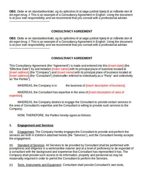 standard consulting agreement template consulting agreement 11 free word pdf documents