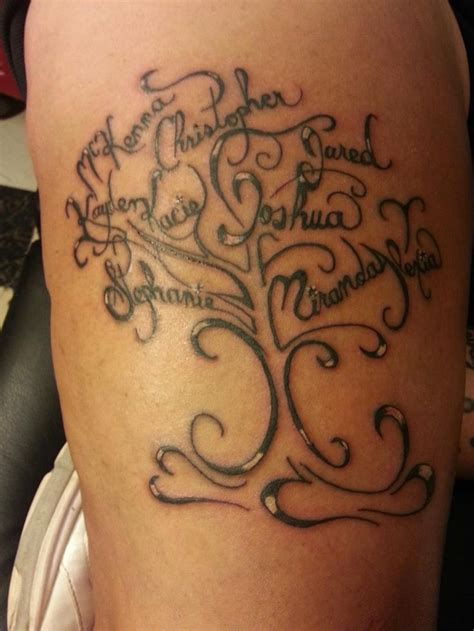 small family tattoo family tree with everyone s name by eric moser