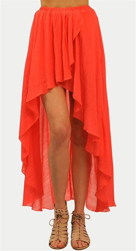 flowy coral maxi skirt for the style