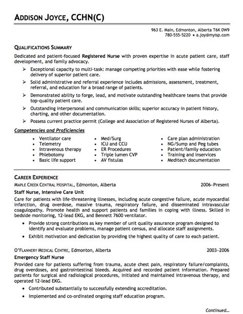 Nursing Resume Exle by Nursing Resume Resume Ideas