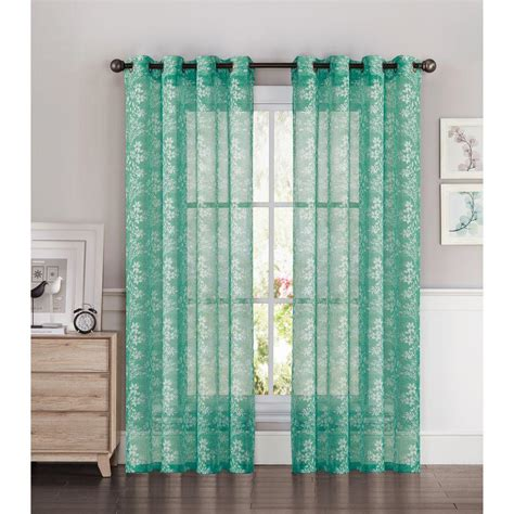 Curtains With Turquoise Window Elements Sheer Botanica Faux Linen 54 In W X 84 In L Semi Sheer Grommet Wide