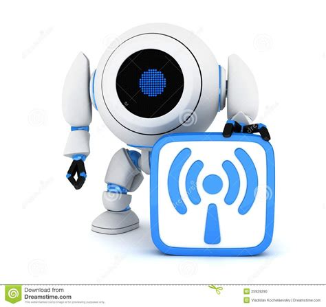 wifi robot robot and symbol wi fi stock illustration image of