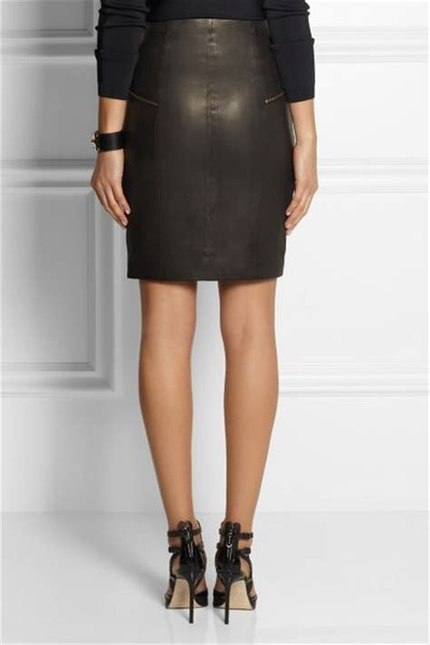 j brand maxine zip front leather skirt in black lyst