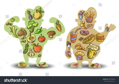 healthy fats clipart human thin nutrition diet food stock vector 298550606