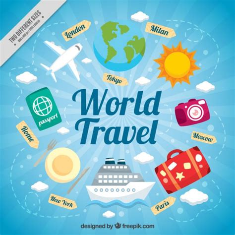 Traveling Around The World travelling around the world vector premium