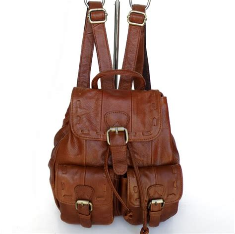 100 gold 6th floor 2081 100 real leather brown shoulder backpack handbag