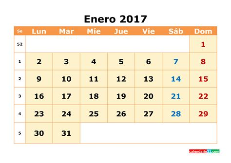 Calendario De Enero 2017 Calendario Enero 2017 Para Imprimir Calendario Mensual