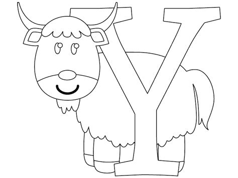 coloring page of a yak y is for yak coloring page coloring com