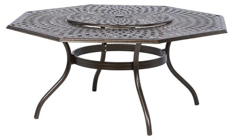 Hexagon Patio Table Alfresco Home Kingston Weave 71 In Hexagon Patio Dining Table With Lazy Susan Contemporary