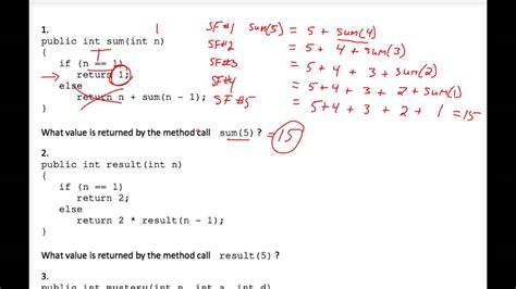 java tutorial recursion java tracing recursion worksheet 1 youtube
