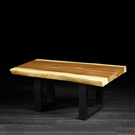 freeform suar wood coffee table metal legs artemano