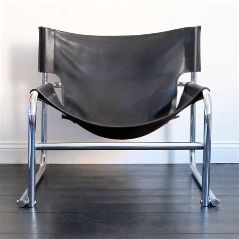leather chrome sling chair black leather chrome t1 sling chair by rodney kinsman
