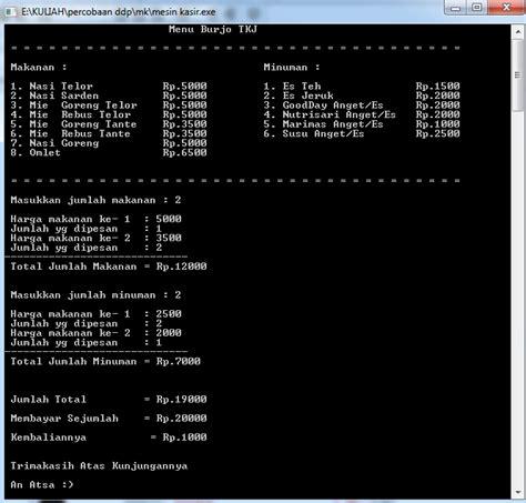 Mesin Kasir Dan Program contoh program mesin kasir pada c an atsa tkj
