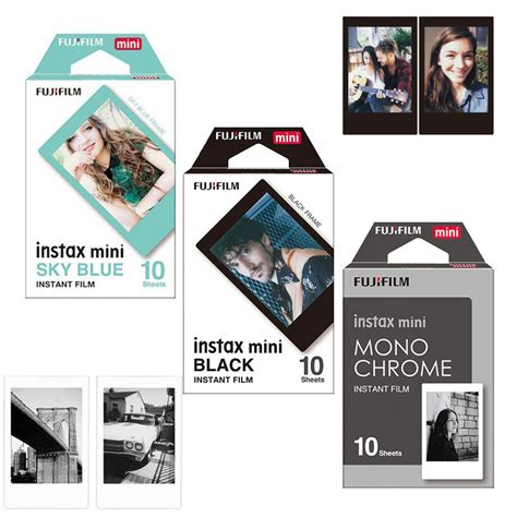 Fujifilm Instax Mini Sky Blue 10 Lembar Kamera genuine fujifilm fuji instax mini monochrome mono black sky blue 30 pcs for mini 8