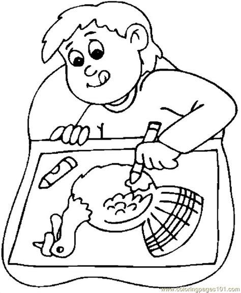 Coloring Pages Boy Drawing Turkey Holidays &gt Thanksgiving Day  Free sketch template