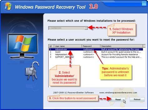 password reset on xp guide windows xp lost password recovery windows 7 password