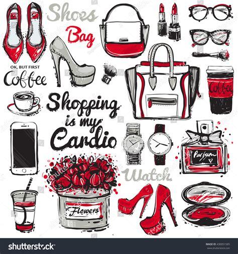 fashion illustration accessories big vector fashion illustration accessories sketch stock vector 430051585