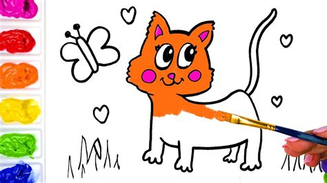 children s painting cat drawing a butterfly and cat for children painting a