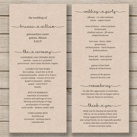 wedding blessing order of service template printable wedding program template order of service