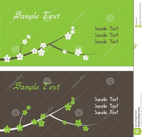 Green Themed Business Card Template by Floral Theme Business Card Template Stock Vector