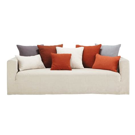 red cushions for sofa sofa in linen with red cushions seats 4 5 louvain