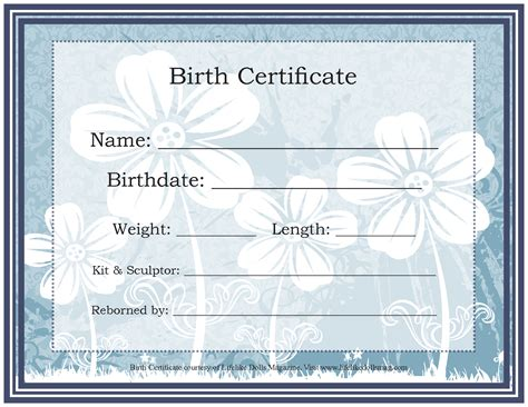 Reborn Birth Certificate Template by 9 Best Images Of Free Reborn Birth Certificate Template