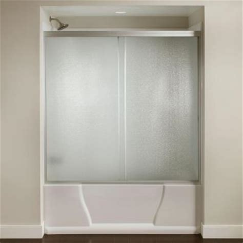 Home Depot Bathtub Shower Doors Franklin Brass 60 In X 56 3 8 In Semi Frameless Sliding Tub Door In Silver With Hammered Glass