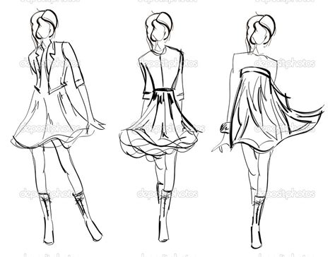 doodle design draw fashion model drawing fashion model stock