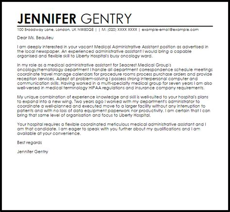 administrative assistant cover letter template administrative assistant cover letter sle