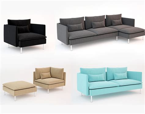 Ikea Armchairs And Sofas by Ikea Soderhamn Sofa And Armchair 3d Models Cgtrader