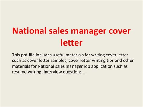 director of sales cover letter national sales manager cover letter