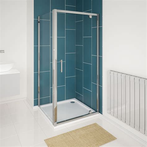 bath with shower cubicle 6mm glass hinged pivot shower enclosure door cubicle tray