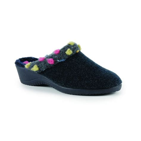 mules slippers kla006 navy wedged mule slipper
