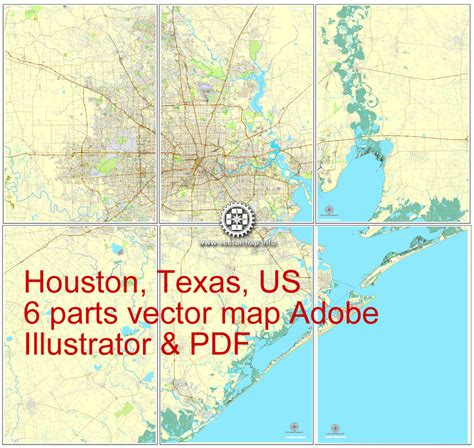 houston map printable houston us printable vector city plan map 6