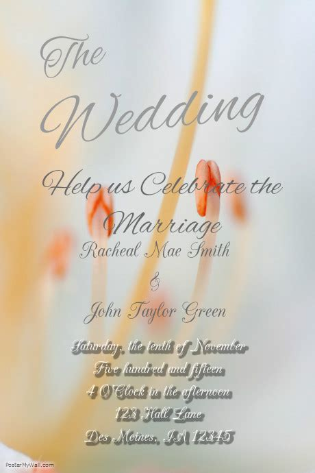 Wedding Announcement Poster by Wedding Announcement Template Postermywall