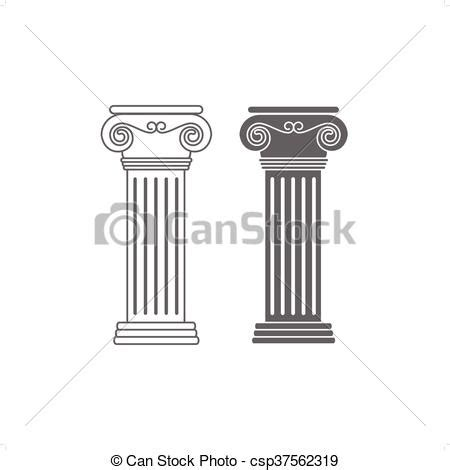 ionic columns   drawing ionic columns vector illustration isolated  white background
