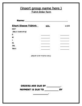 Blank T Shirt Order Form By Frogzela Teachers Pay Teachers Blank T Shirt Order Form Template Word