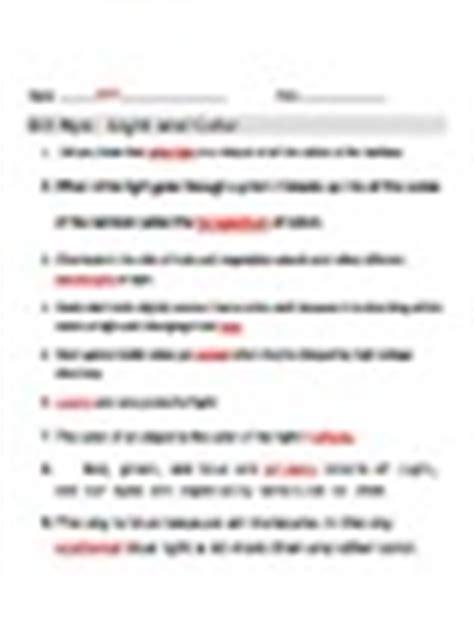 bill nye light and color bill nye light and color worksheet by jjms