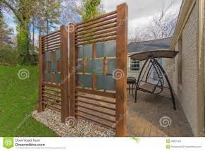 Fence For Patio by Backyard Patio With Diy Privacy Fence Stock Photos Image