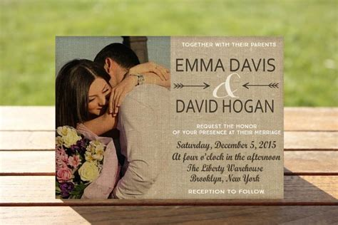 Wedding Invitation With Photo by Photo Wedding Invitations Burlap Wedding Invitations