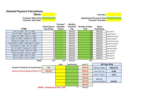 Salary Calculator Template Compensation Spreadsheet Template